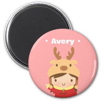 Cute Reindeer Hat Girl Kids Christmas Fillers 6 Cm Round Magnet