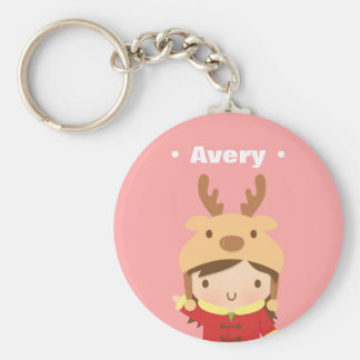 Cute Reindeer Hat Girl Kids Christmas Fillers Basic Round Button Key Ring