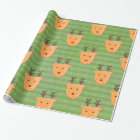 Cute Reindeer Holiday Christmas Pattern Green Wrapping Paper