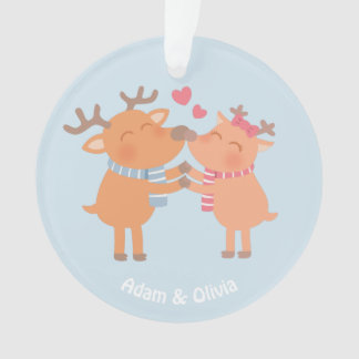 Cute Reindeer in Love Christmas Ornament