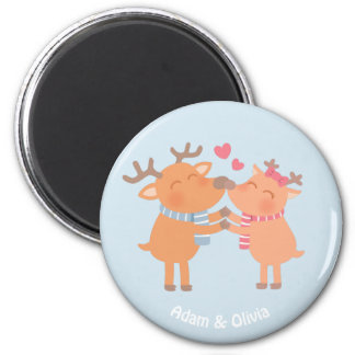 Cute Reindeer in Love Nose Nuzzle Magnet