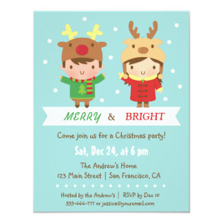 Cute Reindeer Kids Christmas Party Invitations