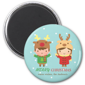 Cute Reindeer Kids Merry Christmas Party Favors 6 Cm Round Magnet