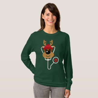 Cute Reindeer Nurse Christmas T-Shirt