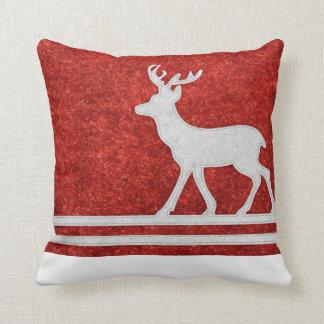 """Cute Reindeer Red winter white  throw pillow"