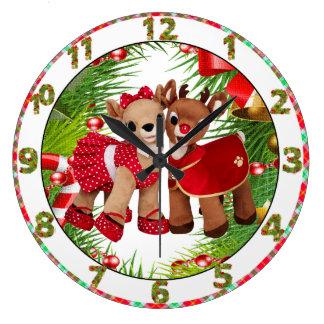 cute reindeer sweet heart christmas clock