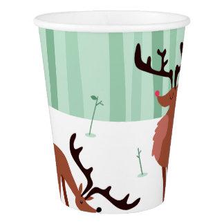 Cute Reindeers Christmas paper cups