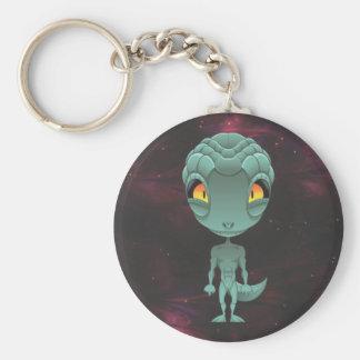 Cute Reptilian Alien Basic Round Button Key Ring