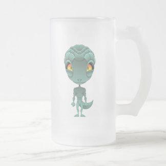 Cute Reptilian Alien Frosted Glass Beer Mug