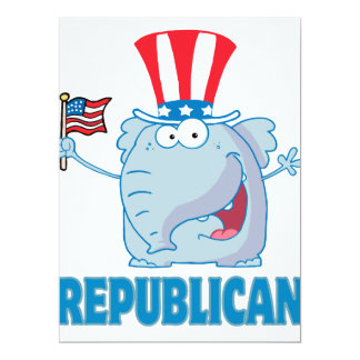 cute republican elephant political cartoon 17 cm x 22 cm invitation card