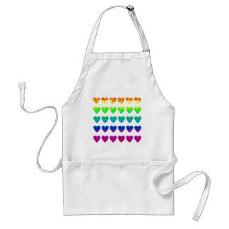 Cute retro 80's wild rainbow hearts standard apron
