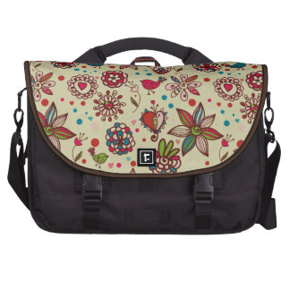 Cute Retro Birds, Hearts & Flowers Laptop Bag