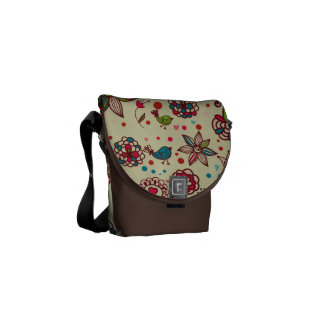 Cute Retro Birds, Hearts & Flowers Messenger Bag