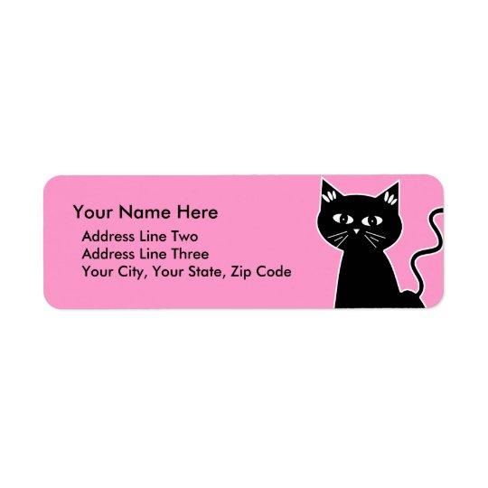 Cute Retro Black Cat Cartoon Drawing Return Address Label