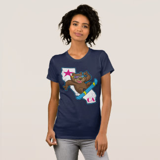 Cute Retro California Bear Snowboarder T-Shirt