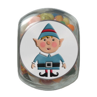Cute Retro Christmas Elf Glass Candy Jars