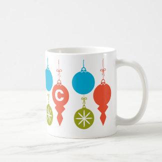 Cute Retro Christmas Ornaments add Monogram Basic White Mug