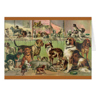 Cute Retro Dog Lover Painting Thinking of You Card