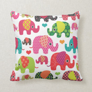Cute retro elephant pattern india design throw pillow