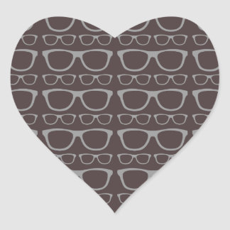 Cute Retro Eyeglass Hipster Heart Sticker