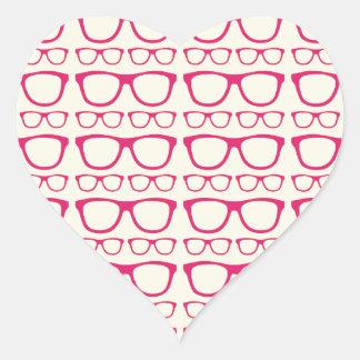 Cute Retro Eyeglass Hipster Heart Stickers