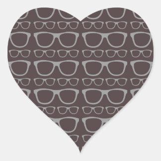 Cute Retro Eyeglass Hipster Heart Sticker