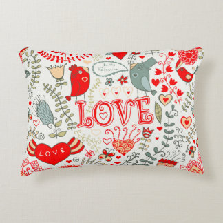 Cute Retro Floral Valentines Design Decorative Cushion