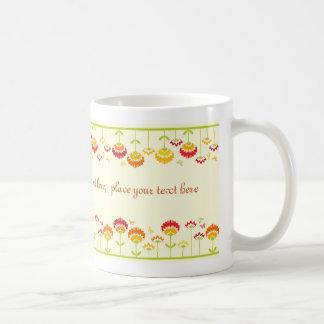 Cute retro flower garden with a name basic white mug