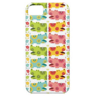 cute retro flower hippie hippos pattern iPhone 5 covers