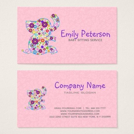 Cute Retro Flowers Cartoon Style Elephant Business Card