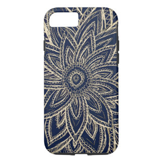 Cute Retro Gold abstract Flower Drawing on Black iPhone 8/7 Case