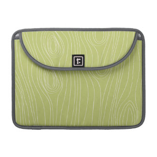 Cute Retro Green Wood Grain pattern Sleeves For MacBook Pro