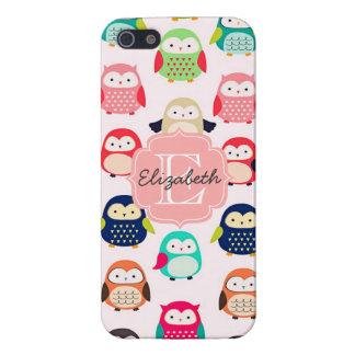 Cute Retro Litte Owls Monogrammed iPhone 5 Case