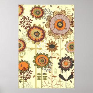 Cute retro orange, brown floral pattern custom poster