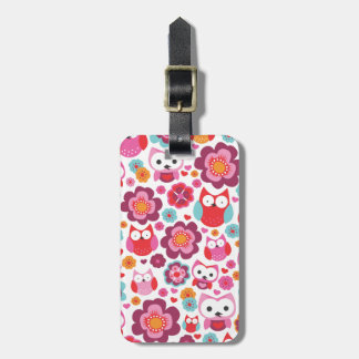 Cute retro owl flower bird pattern travel tag