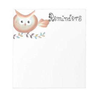 Cute Retro Owl Notepad
