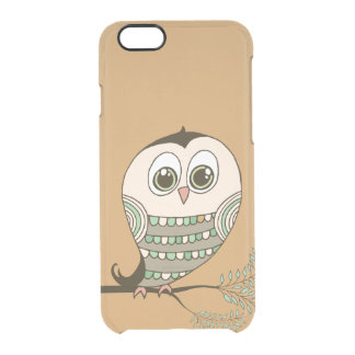 Cute Retro Owl on Branch Clear iPhone 6/6S Case