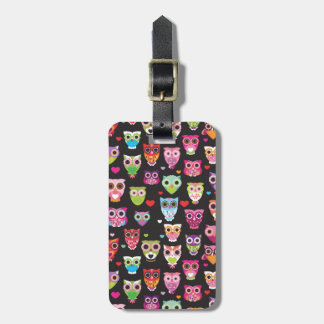 Cute retro owl pattern illustrated luggage case luggage tag