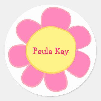 cute retro pink flower sticker
