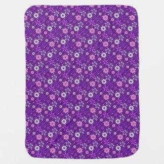 Cute retro purple look geometric floral pattern baby blanket