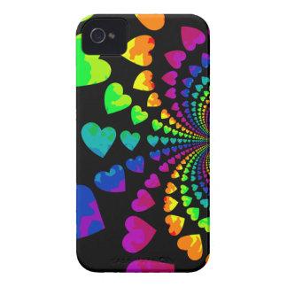 Cute retro rainbow hearts Case-Mate iPhone 4 cases