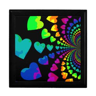 Cute retro rainbow hearts jewelry boxes
