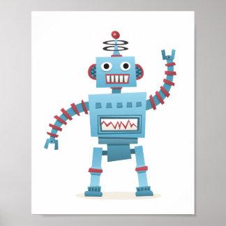 Cute retro robot android kids cartoon wall art