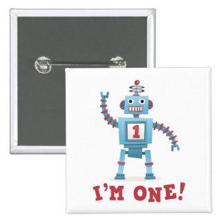 Cute retro robot cartoon I am one Pinback Buttons