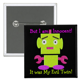 Cute Retro Robot - Ghoul Green - Evil Twin 15 Cm Square Badge