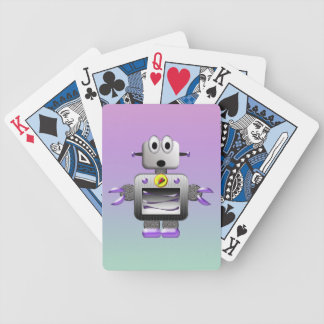 Cute Retro Robot Purple & Blue Playing Cards Bicycle Playing Cards