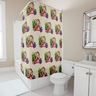 Cute Retro Santa Elephants Pattern Christmas Shower Curtain