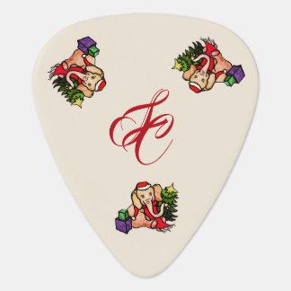 Cute Retro Santa Elephants with Monogram Christmas Guitar Pick