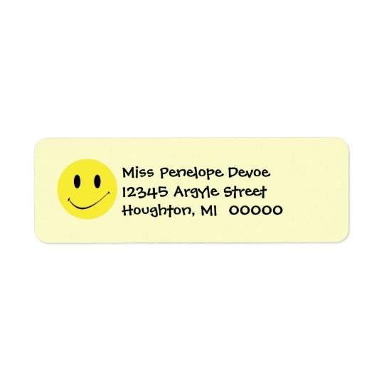 Cute Retro Smiley Face Grins Return Address Labels