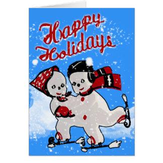 Cute Retro Snowmen Skaters - Personalized Card